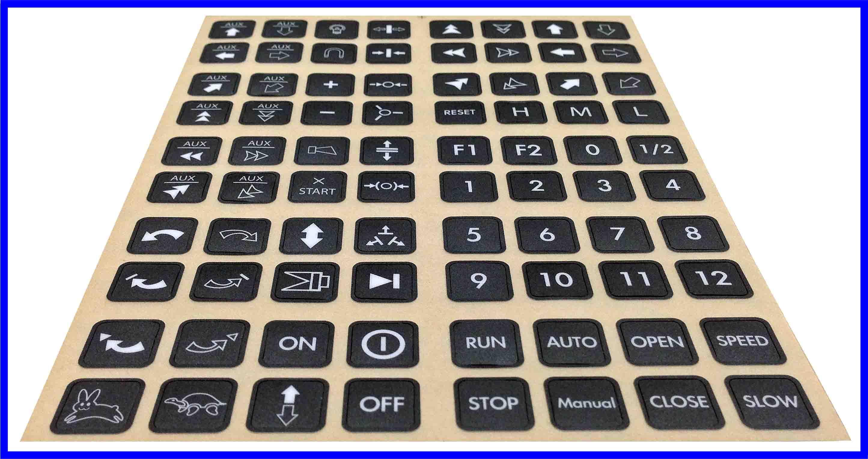 Etichette pulsanti standard di ricambio